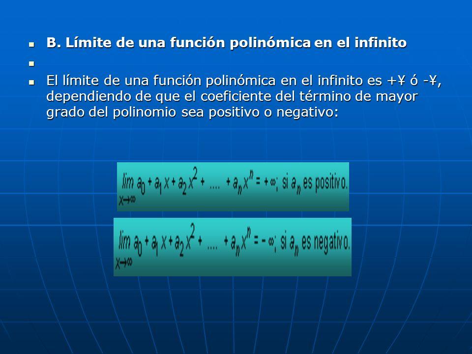 B. Límite de una función polinómica en el infinito