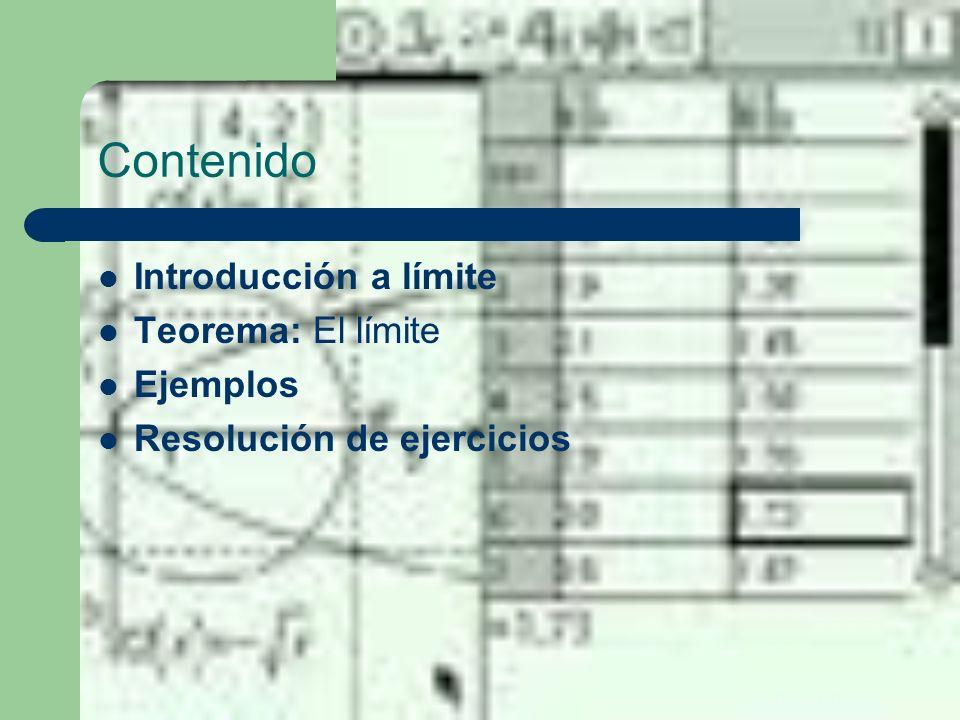 Contenido Introducción a límite Teorema: El límite Ejemplos