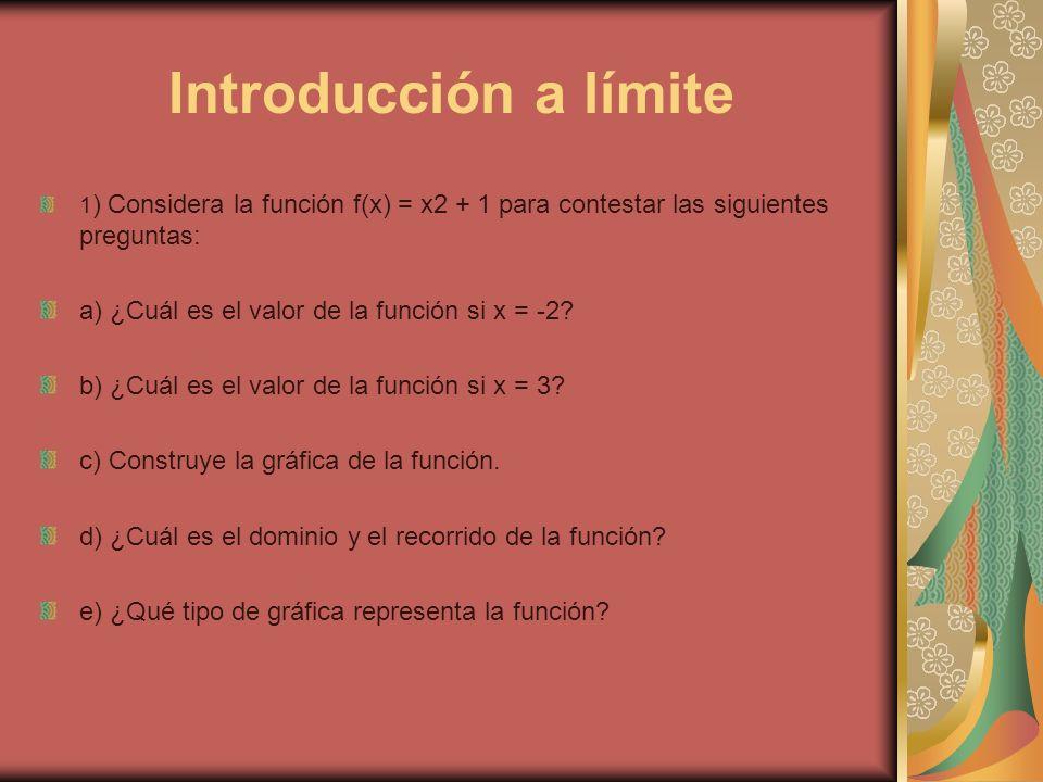 Introducción a límite a) ¿Cuál es el valor de la función si x = -2