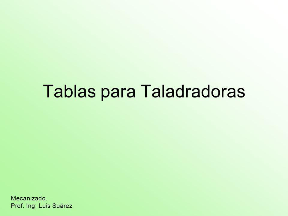 Tablas para Taladradoras