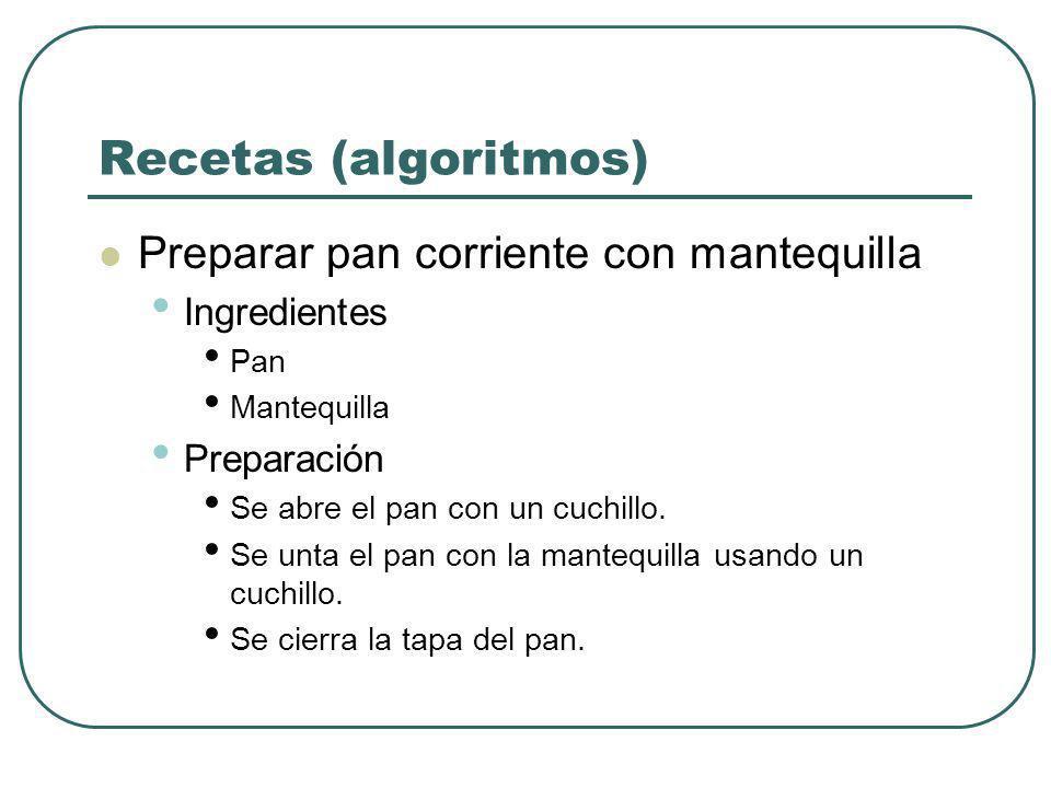 Recetas (algoritmos) Preparar pan corriente con mantequilla