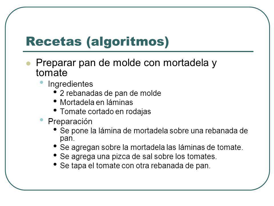 Recetas (algoritmos) Preparar pan de molde con mortadela y tomate