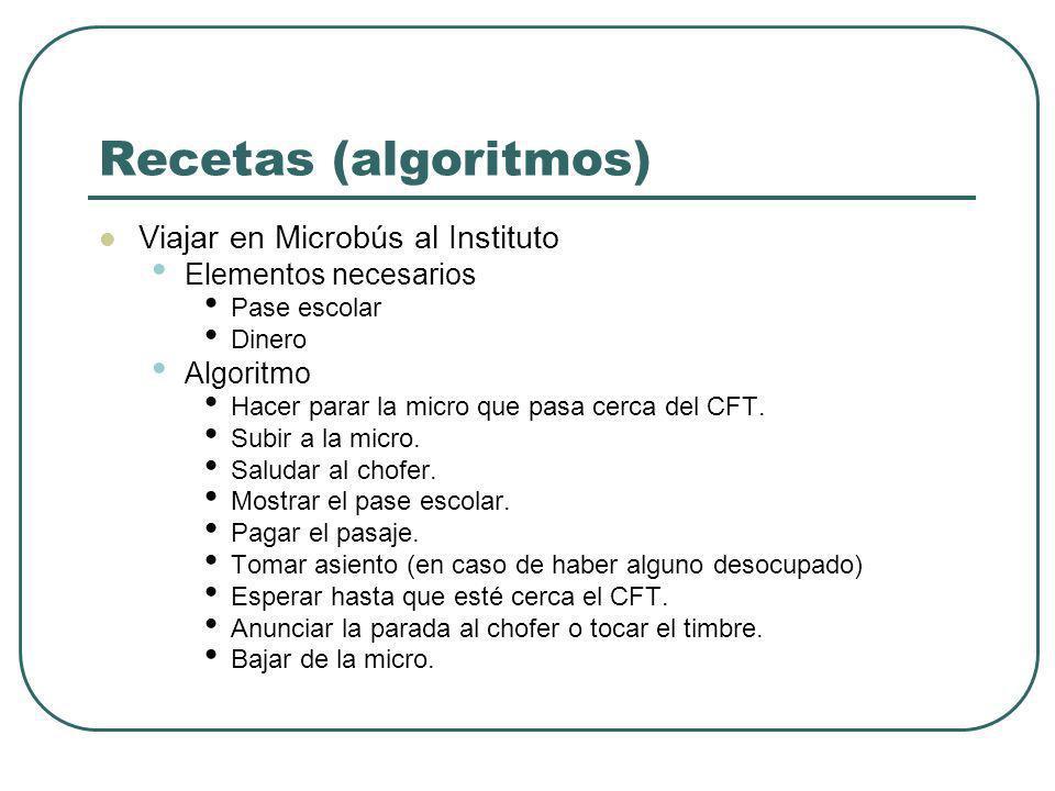 Recetas (algoritmos) Viajar en Microbús al Instituto