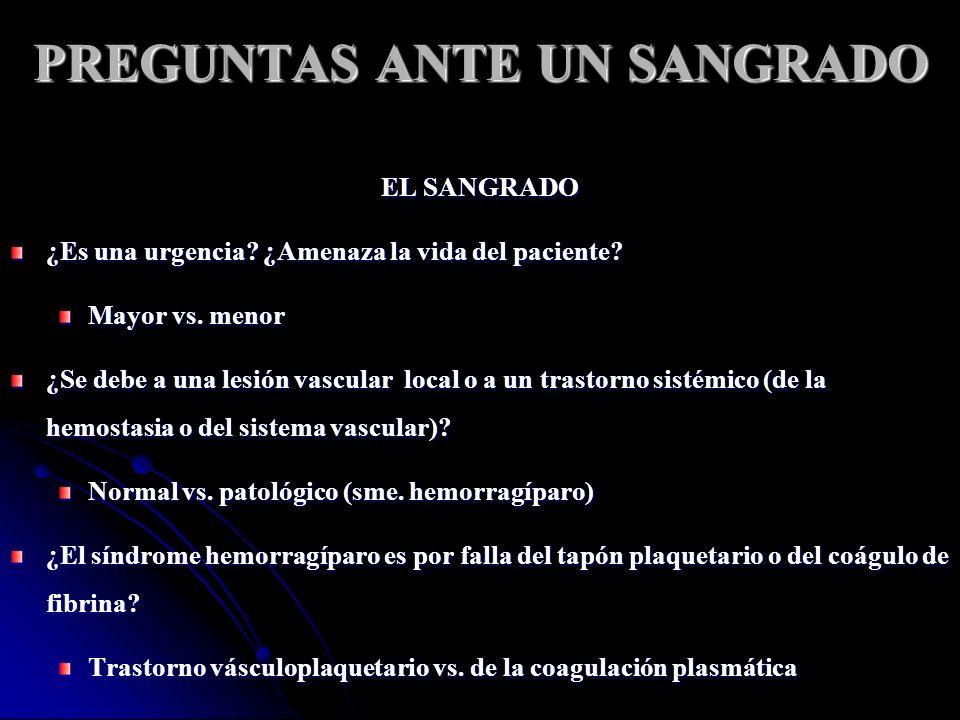 PREGUNTAS ANTE UN SANGRADO