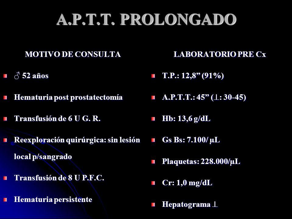 A.P.T.T. PROLONGADO MOTIVO DE CONSULTA ♂ 52 años