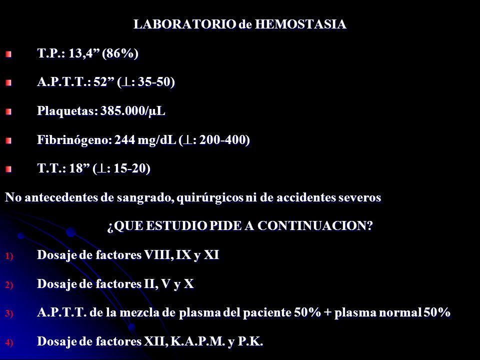 LABORATORIO de HEMOSTASIA ¿QUE ESTUDIO PIDE A CONTINUACION