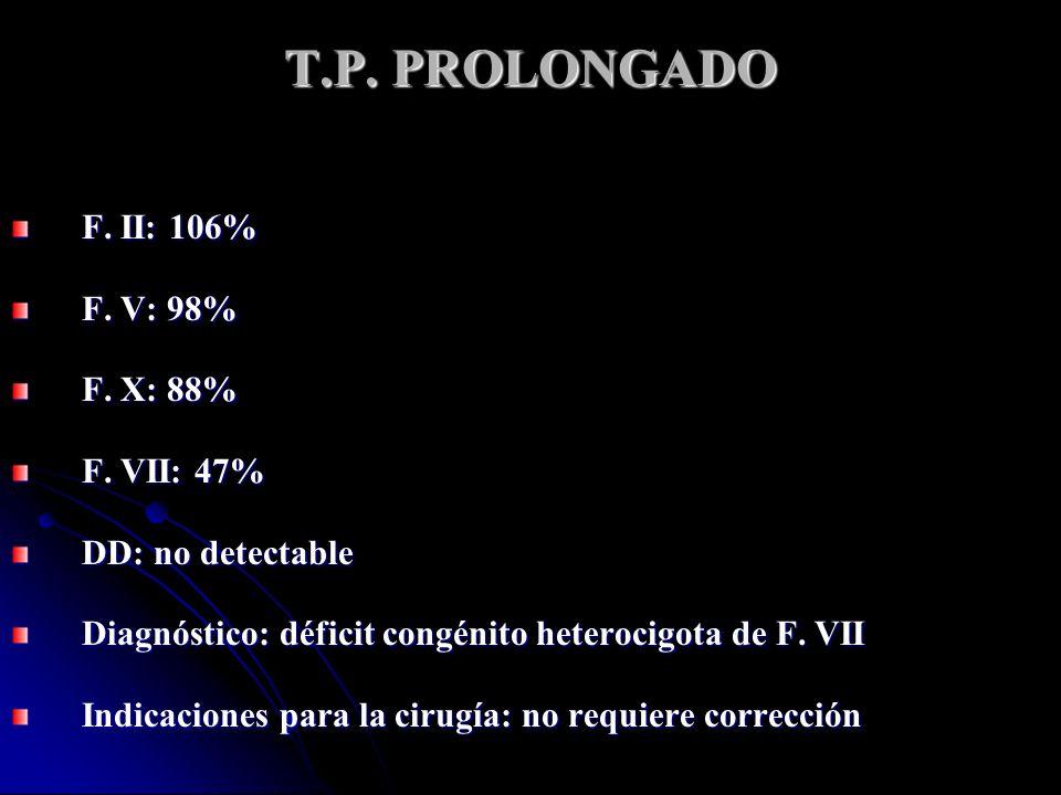 T.P. PROLONGADO F. II: 106% F. V: 98% F. X: 88% F. VII: 47%