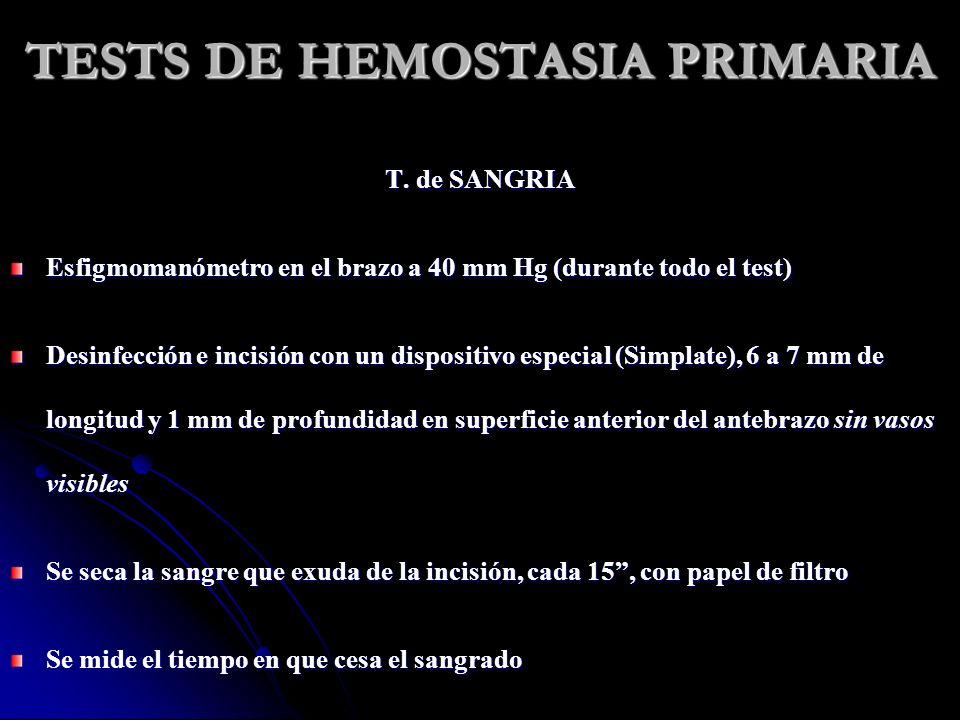 TESTS DE HEMOSTASIA PRIMARIA