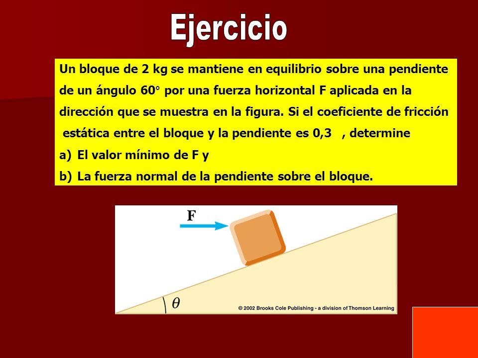 Ejercicio Un bloque de 2 kg se mantiene en equilibrio sobre una pendiente. de un ángulo 60° por una fuerza horizontal F aplicada en la.