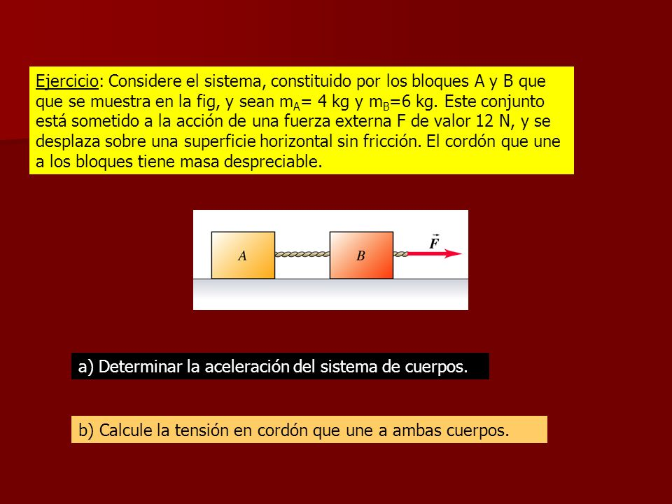 Ejercicio: Considere el sistema, constituido por los bloques A y B que que se muestra en la fig, y sean mA= 4 kg y mB=6 kg. Este conjunto está sometido a la acción de una fuerza externa F de valor 12 N, y se desplaza sobre una superficie horizontal sin fricción. El cordón que une a los bloques tiene masa despreciable.
