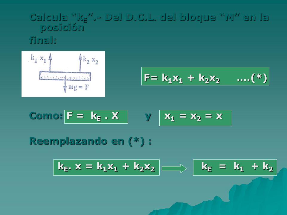 Calcula kE .- Del D.C.L. del bloque M en la posición