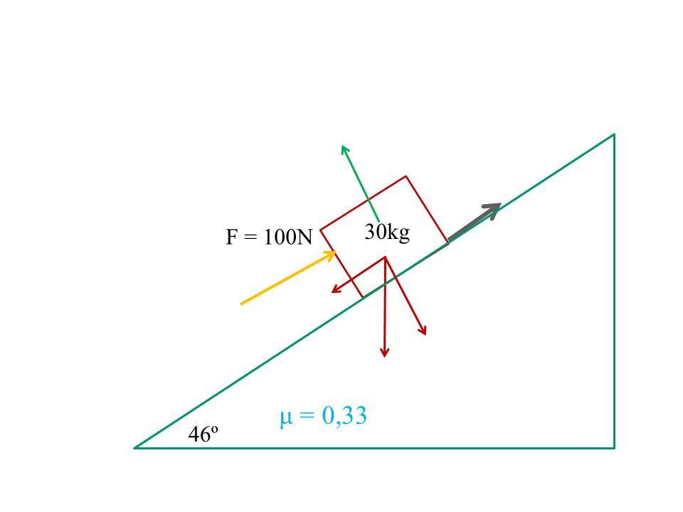 30kg F = 100N μ = 0,33 46º