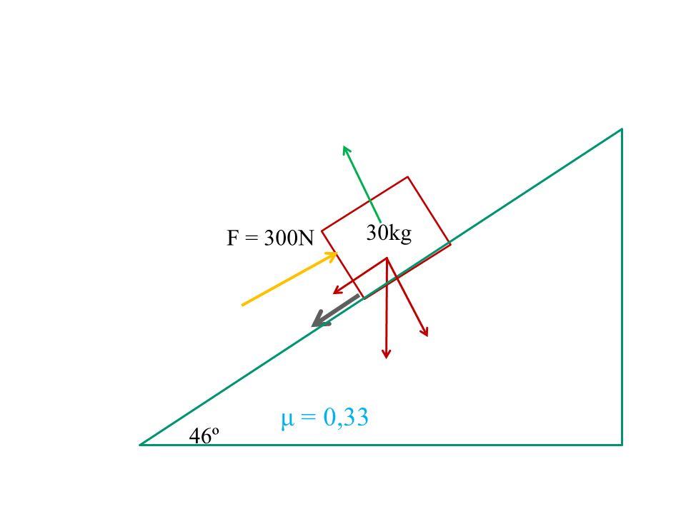 30kg F = 300N μ = 0,33 46º