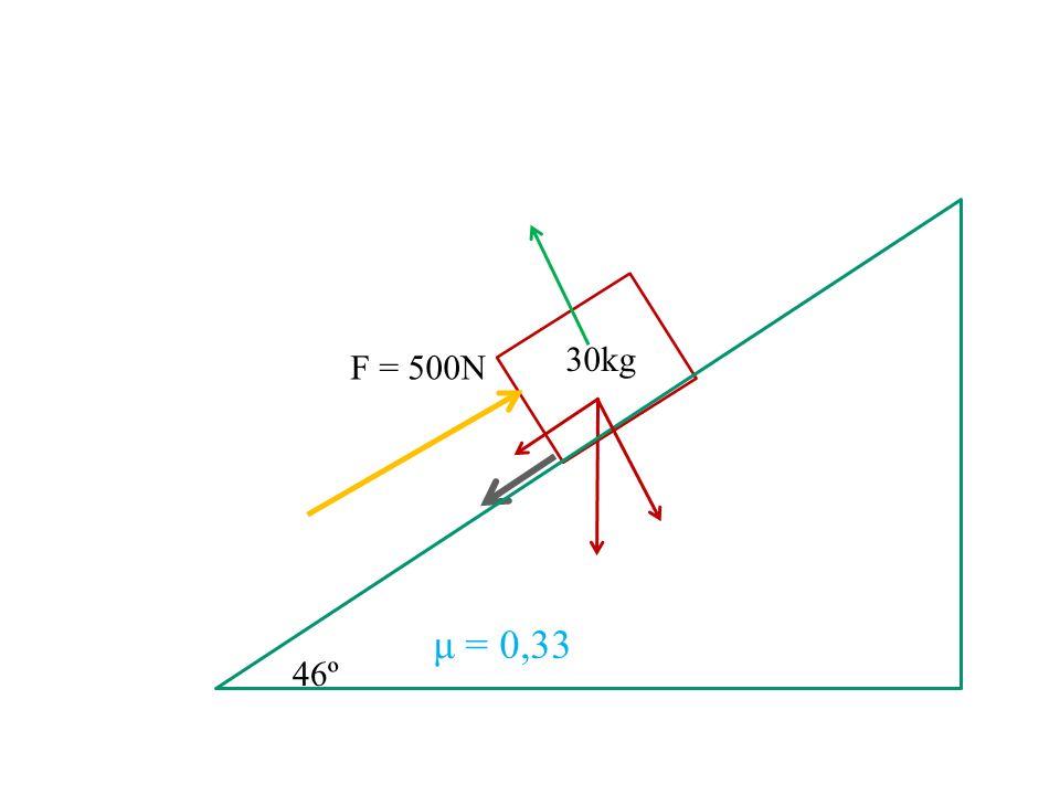 30kg F = 500N μ = 0,33 46º