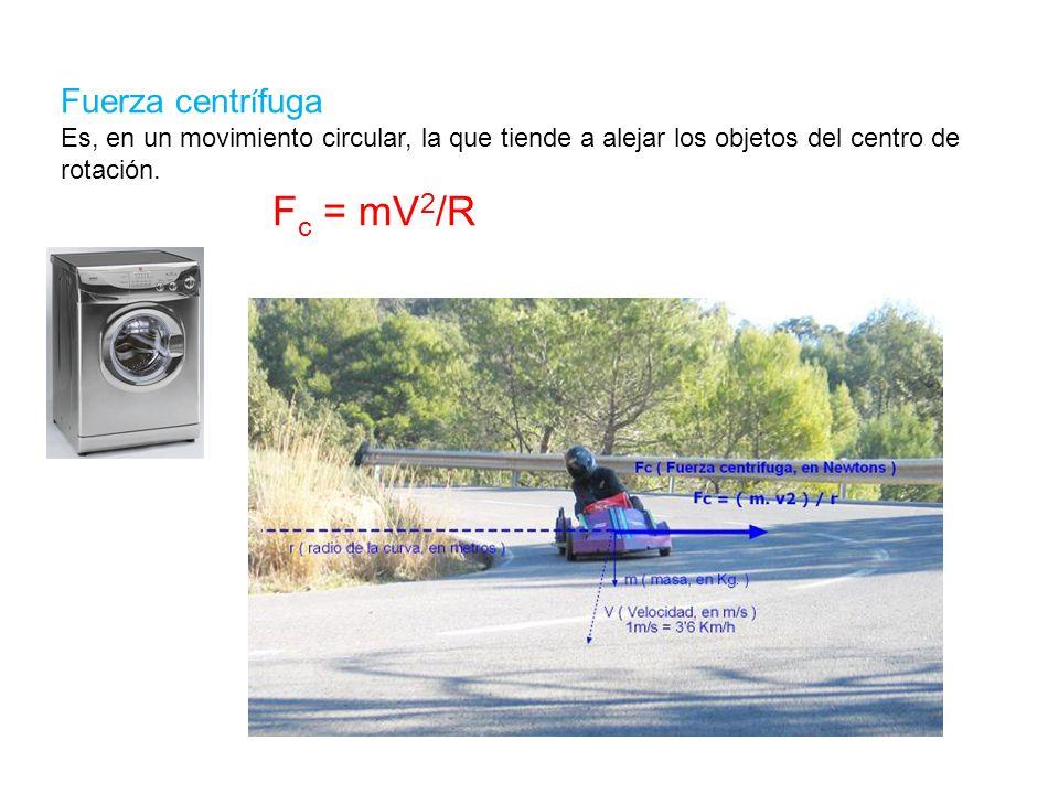 Fuerza centrífuga Es, en un movimiento circular, la que tiende a alejar los objetos del centro de rotación.