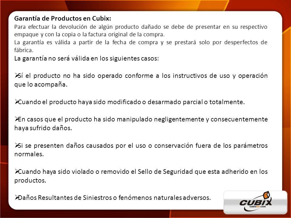 Garantía de Productos en Cubix: