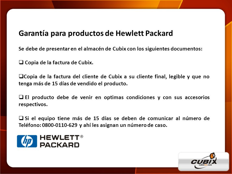 Garantía para productos de Hewlett Packard