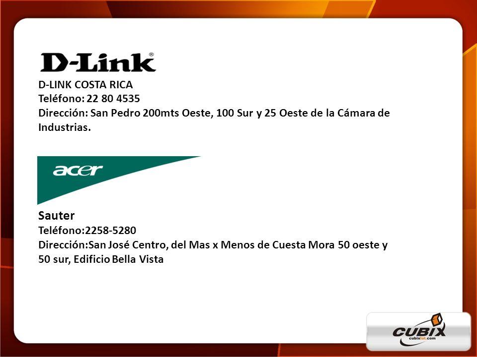 Sauter D-LINK COSTA RICA Teléfono: 22 80 4535
