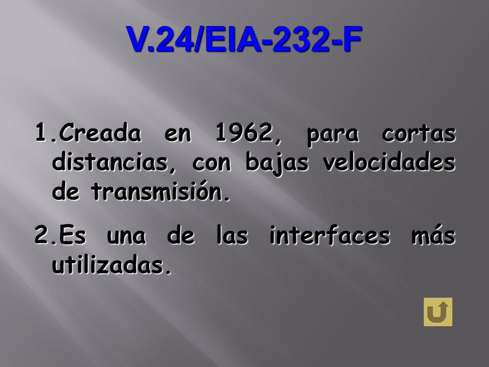 V.24/EIA-232-FCreada en 1962, para cortas distancias, con bajas velocidades de transmisión.