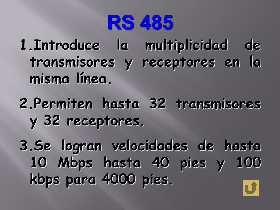 RS 485Introduce la multiplicidad de transmisores y receptores en la misma línea. Permiten hasta 32 transmisores y 32 receptores.