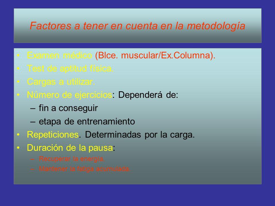 Factores a tener en cuenta en la metodología