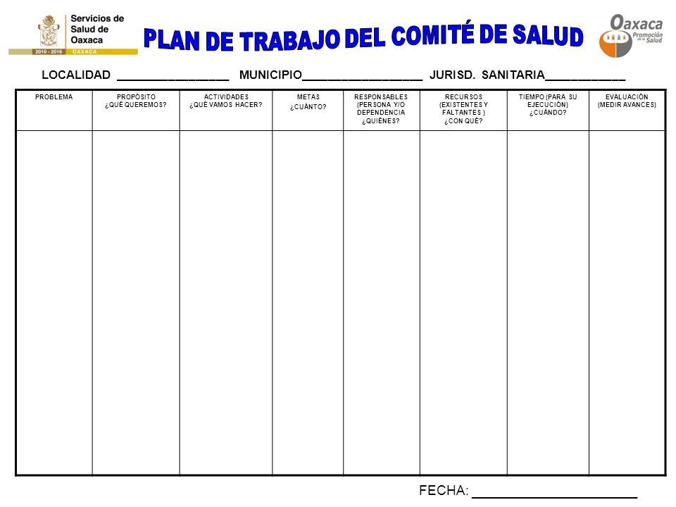 PLAN DE TRABAJO DEL COMITÉ DE SALUD