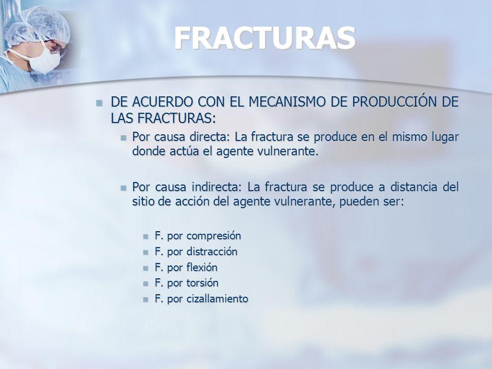 FRACTURAS DE ACUERDO CON EL MECANISMO DE PRODUCCIÓN DE LAS FRACTURAS: