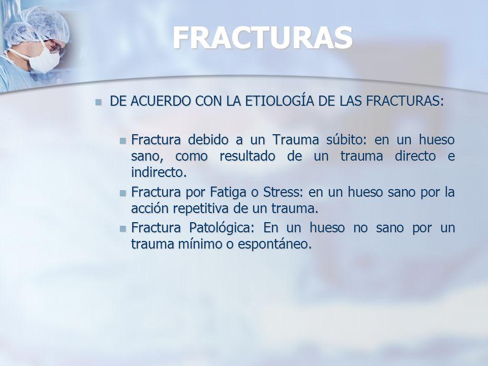 FRACTURAS DE ACUERDO CON LA ETIOLOGÍA DE LAS FRACTURAS: