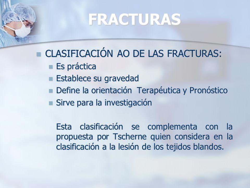FRACTURAS CLASIFICACIÓN AO DE LAS FRACTURAS: Es práctica