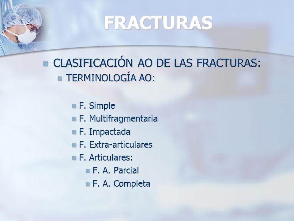 FRACTURAS CLASIFICACIÓN AO DE LAS FRACTURAS: TERMINOLOGÍA AO: