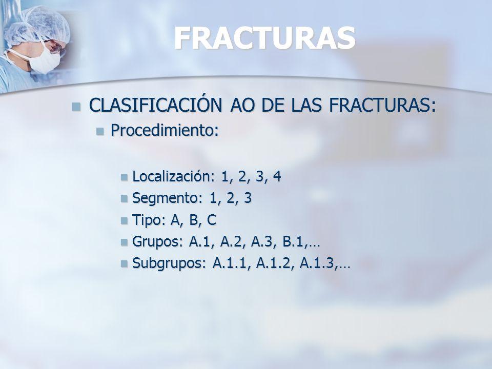 FRACTURAS CLASIFICACIÓN AO DE LAS FRACTURAS: Procedimiento:
