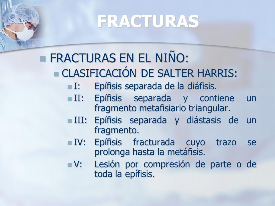 FRACTURAS FRACTURAS EN EL NIÑO: CLASIFICACIÓN DE SALTER HARRIS: