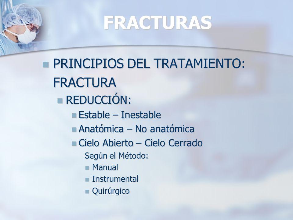 FRACTURAS PRINCIPIOS DEL TRATAMIENTO: FRACTURA REDUCCIÓN: