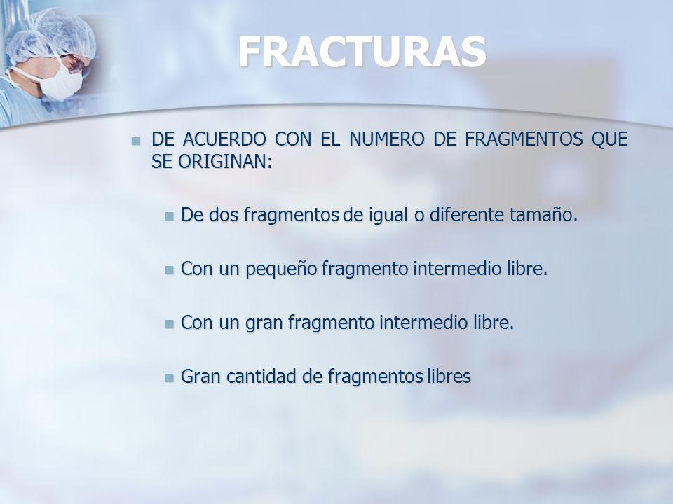 FRACTURAS DE ACUERDO CON EL NUMERO DE FRAGMENTOS QUE SE ORIGINAN: