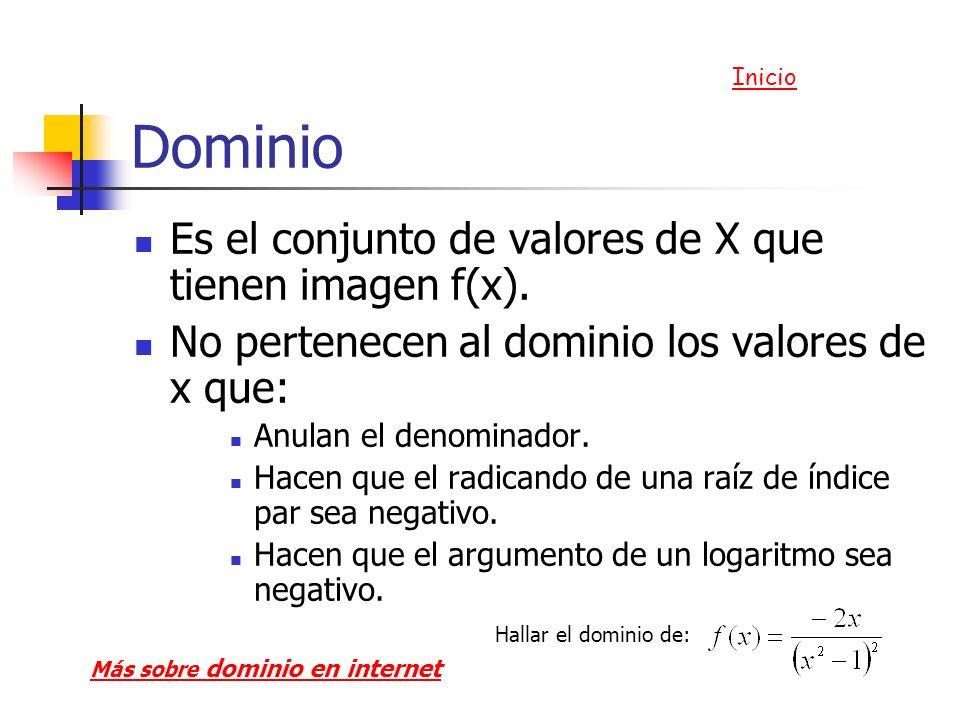 Dominio Es el conjunto de valores de X que tienen imagen f(x).