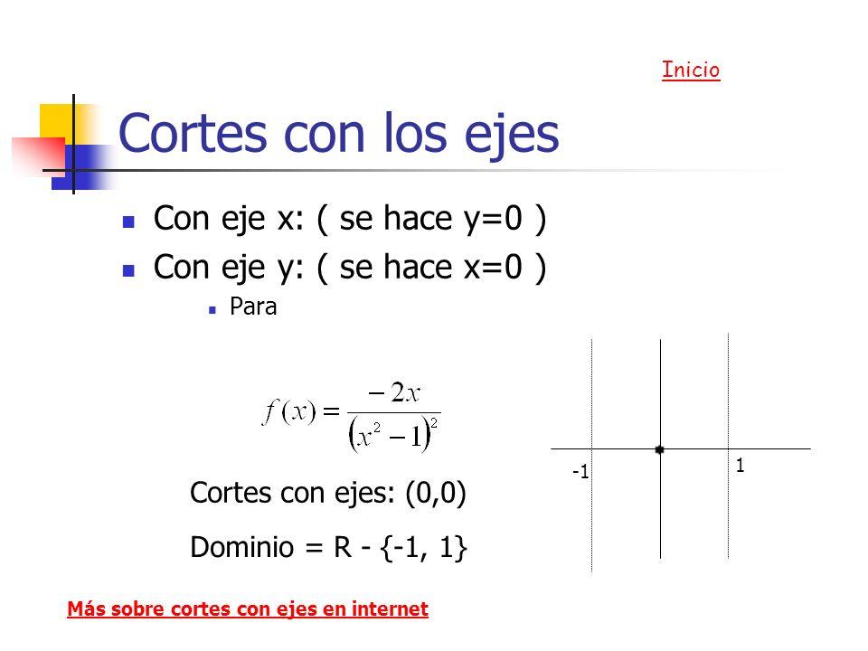 Cortes con los ejes Con eje x: ( se hace y=0 )