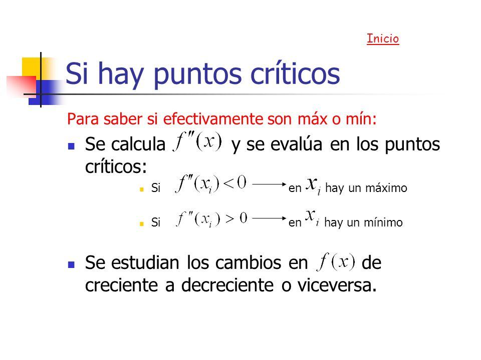 Si hay puntos críticos Se calcula y se evalúa en los puntos críticos: