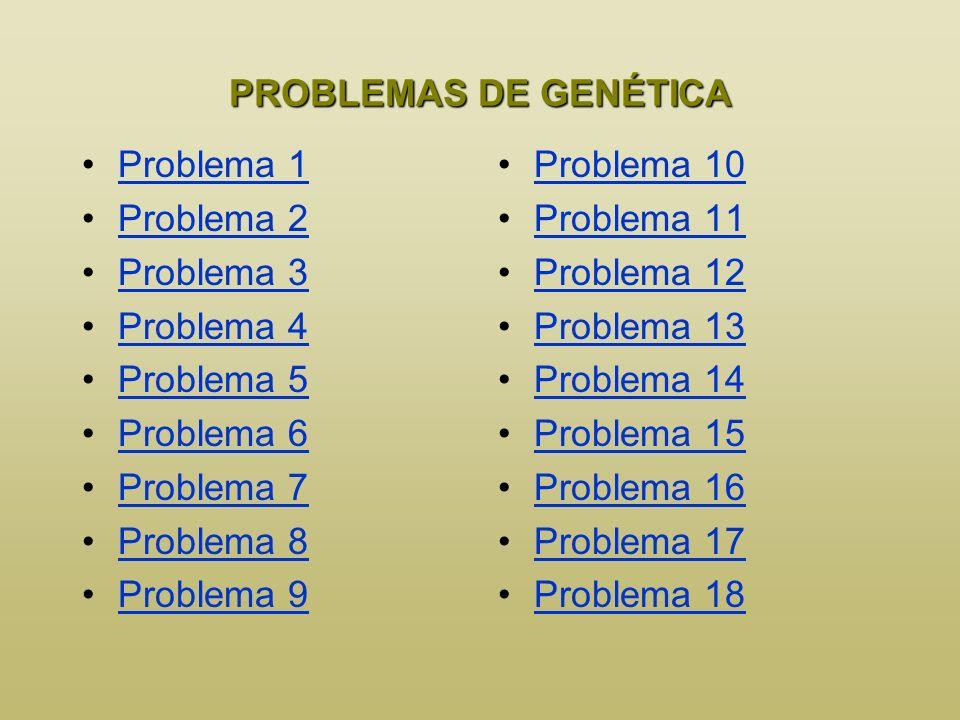 PROBLEMAS DE GENÉTICA Problema 1. Problema 2. Problema 3. Problema 4. Problema 5. Problema 6. Problema 7.