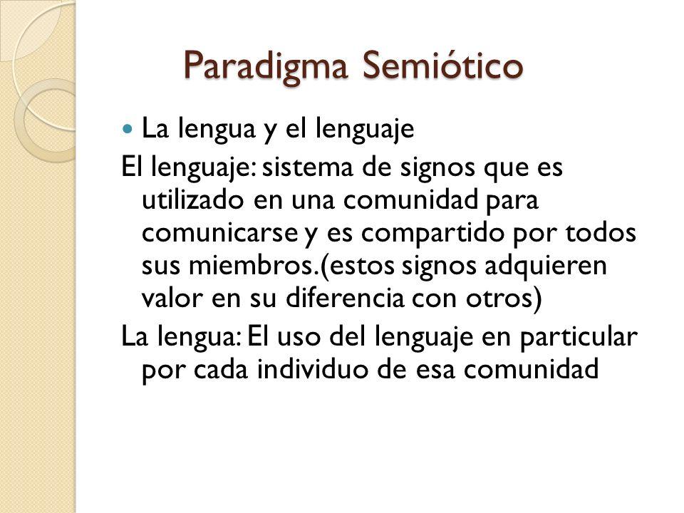 Paradigma Semiótico La lengua y el lenguaje