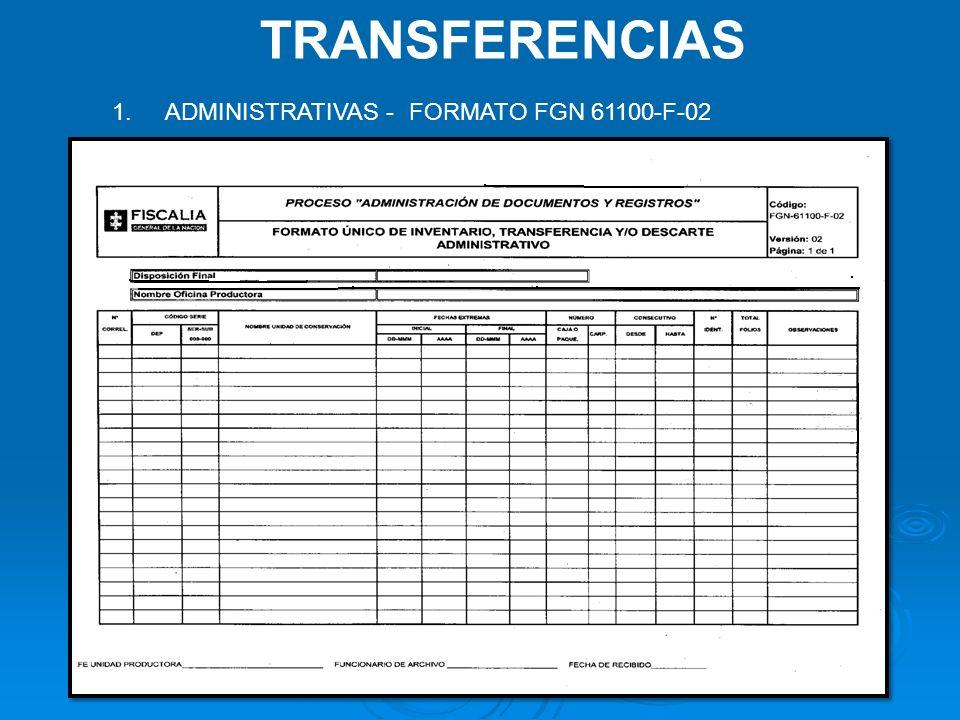 TRANSFERENCIAS ADMINISTRATIVAS - FORMATO FGN 61100-F-02