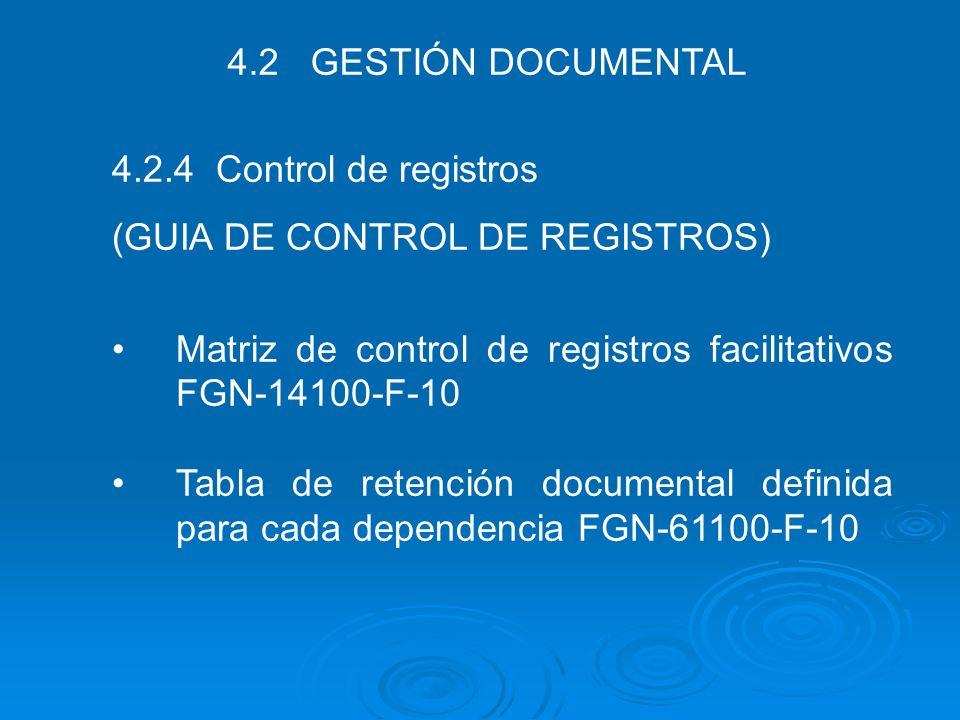 4.2 GESTIÓN DOCUMENTAL 4.2.4 Control de registros. (GUIA DE CONTROL DE REGISTROS) Matriz de control de registros facilitativos FGN-14100-F-10.