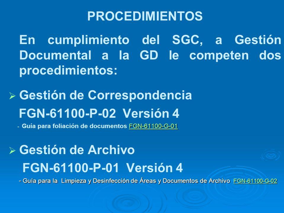 Gestión de Correspondencia FGN-61100-P-02 Versión 4 Gestión de Archivo