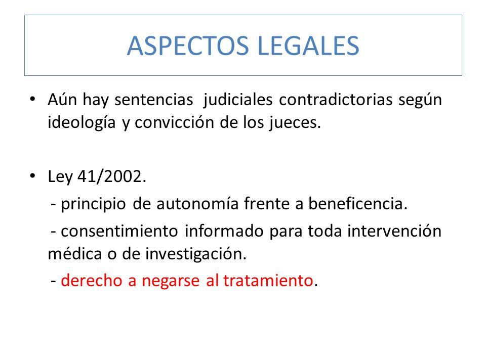 ASPECTOS LEGALES Aún hay sentencias judiciales contradictorias según ideología y convicción de los jueces.
