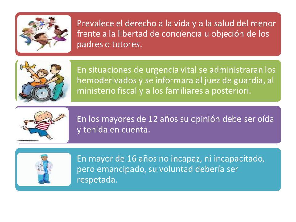 Prevalece el derecho a la vida y a la salud del menor frente a la libertad de conciencia u objeción de los padres o tutores.
