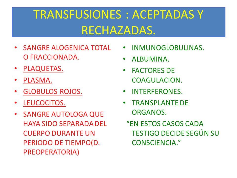 TRANSFUSIONES : ACEPTADAS Y RECHAZADAS.