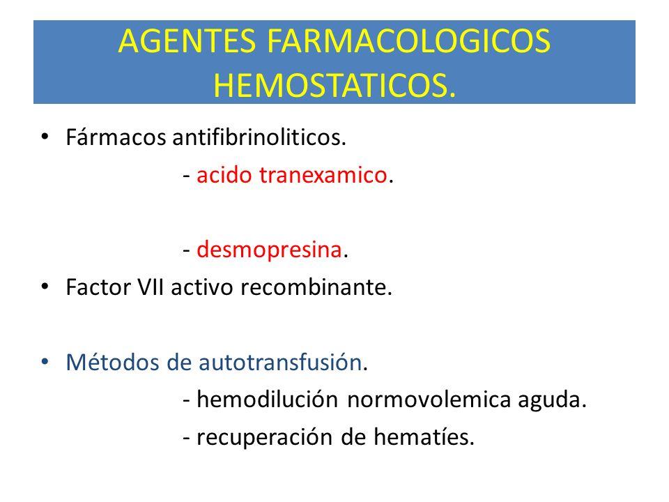 AGENTES FARMACOLOGICOS HEMOSTATICOS.