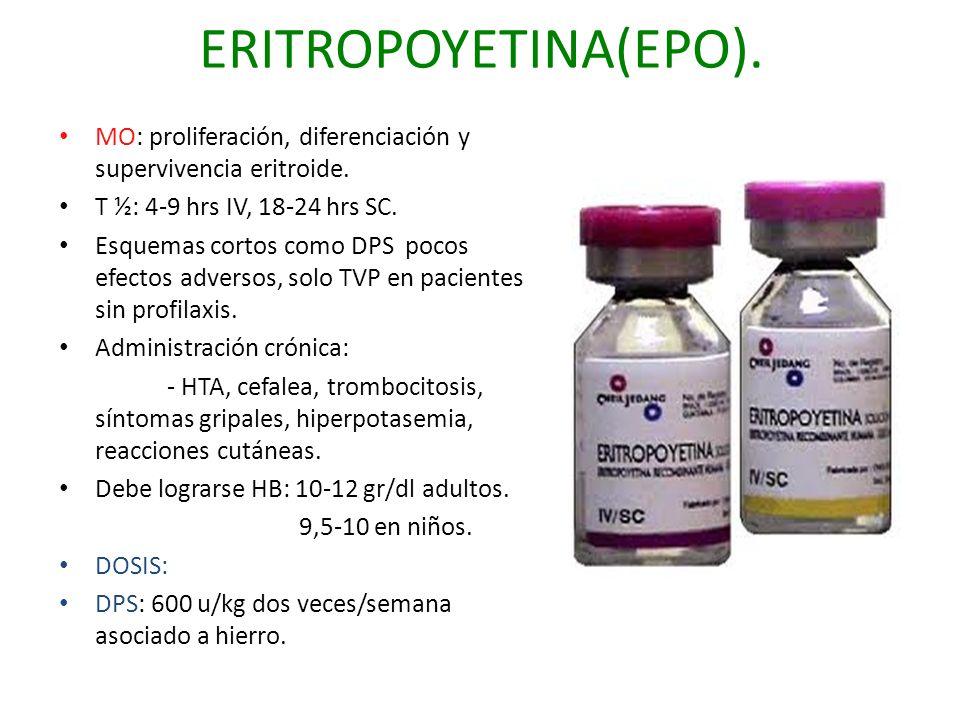 ERITROPOYETINA(EPO). MO: proliferación, diferenciación y supervivencia eritroide. T ½: 4-9 hrs IV, 18-24 hrs SC.