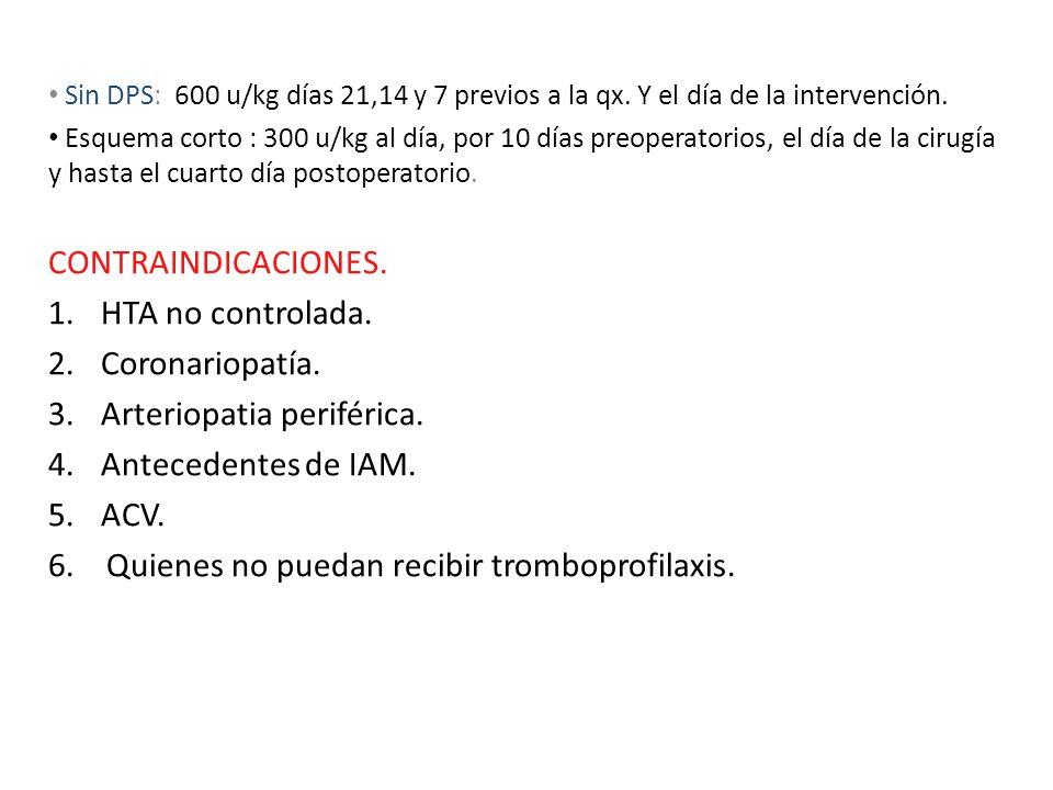 Arteriopatia periférica. Antecedentes de IAM. ACV.