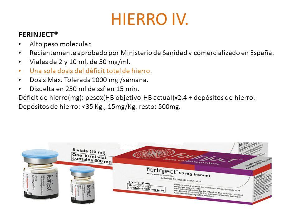 HIERRO IV. FERINJECT® Alto peso molecular.