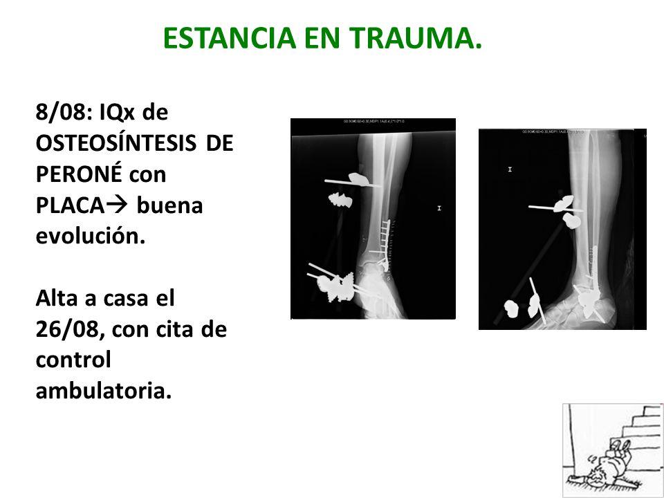 ESTANCIA EN TRAUMA. 8/08: IQx de OSTEOSÍNTESIS DE PERONÉ con PLACA buena evolución.